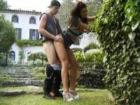 Ass fucking a horny German bitch in the outdoors