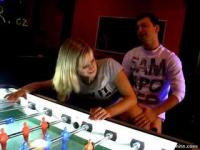 Agata getting her snatch drilled on the fussball table