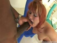 Sexy redhead lets black camera guy drill her tight pussy