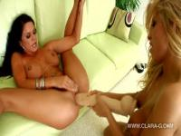 Two lesbian cougars share huge toy