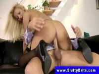 Blond hooker in stockings fucked by old man