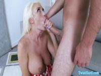 Horny blonde hooker on a rich guy's cock