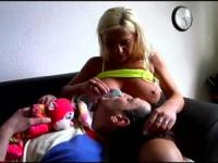 Horny blonde acts good mum at home