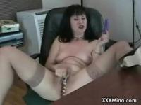 Dirty mina masturbates in her office