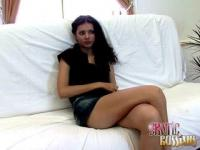 Russian teen babe Sonya provokes on a couch