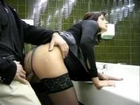 Horny couple do it in a public restroom