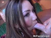 Cumshot on the face for an Asian girl