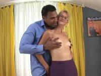 One black guy with a huge cock fucks a granny