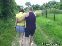 Fucking a slut in the meadow and filming it