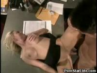 Sexy office slut fucked on the desk