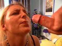 Horny dude is jerking on 3cm from her pretty face