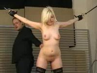 Blonde babe is treated like a blow up doll