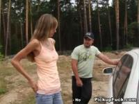 Stripping hitchhiker to pay her debts
