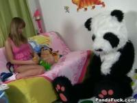 Teen enjoying the drilling from her panda