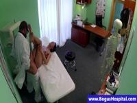 Pounding the young patient on the examination bed