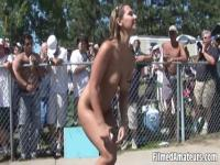 Horny girls on the festival walking naked