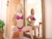 Lily La Beau in front of the mirror