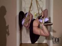Letting Amber Nevada hanging from the ceiling