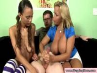 Teen chicks gets some hot lesson about handjobs.