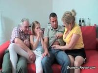 Mature couple foursome with teens
