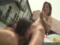 Two young lesbian babes are washing a new boss's Porsche