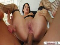 Hot brunette gets deep anal ripped in hot stockings.