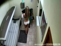 Hairy pussy in the tanning room