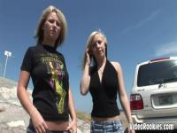 Two alt girls are stripping for fun in the stranger's car