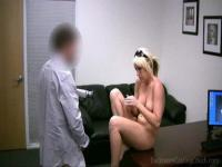 Blonde chick lays prone on a desk while getting screwed.