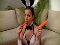 Sexy bunny rabbit teen teasing you with a carrot