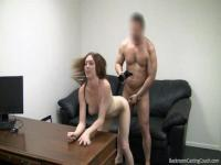 Beautiful bombshell gets banged and jizzed by a fake agent.