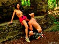 Karolina and Daniel having oral pleasure in the forest