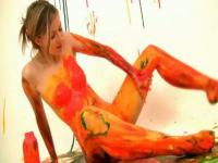 Smoking hot teen body painting