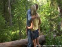 Hitchhiking teen picked up and fucked in the forest.