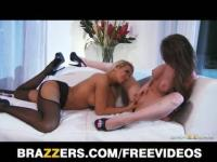Two lesbian babes share a vibrator