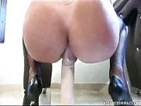 Blonde shemale getting inserting two cocks in her asshole