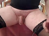 Transvestite shaving his pubic hair