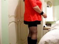 Fat Tranny with boobs and cuffs