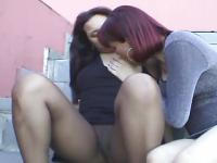 Chubby girl sucks shemale and outdoor fucking