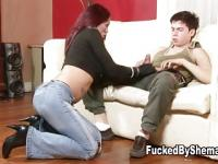 Tgirl pumps the stud