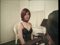 Tgirl and masked dude are drilled hard with dildos in kinky S&M threesome