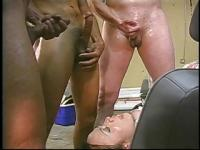 Triple teamed tranny gets cum licked off her face by a mature gentleman