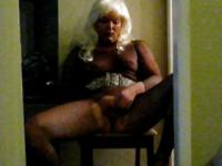 Transvestite jerking off