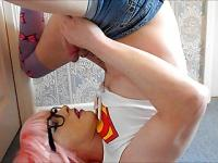 Tranny Supersatin Cums Twice! Swallow and Facial