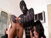 The spider man fucks two hotties