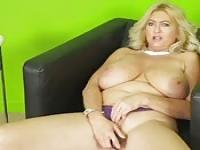 Busty grandma masturbating herself