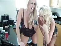 Two blondes humilliate a slave on the phone