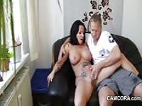 Tattooed housewife fucks the neighbor
