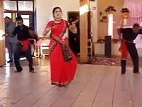 Cute Indian girl dances in sari