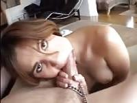 Chained girl must suck his cock